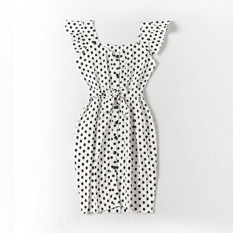 ALPHALMODA 18 New Polka Dot Shirt Pocket Dress Petal Sleeve Single Breasted Slim Sashes Women Fashion Summer Vestidos 18