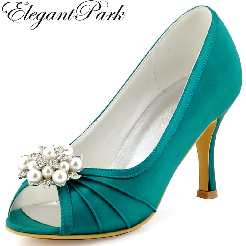 Women Wedding Bridal Shoes Teal Peep Toe High Heel Rhinestones Clips Satin Bridesmaids Prom Dress Pumps