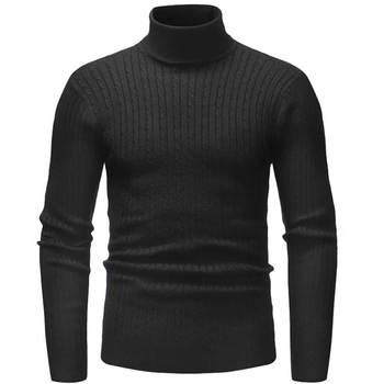 77aa6738c534 Suéter de invierno de cuello alto grueso cálido de hombre de marca de cuello  alto suéteres de hombre de corte Delgado Jersey de punto de hombre de doble  ...