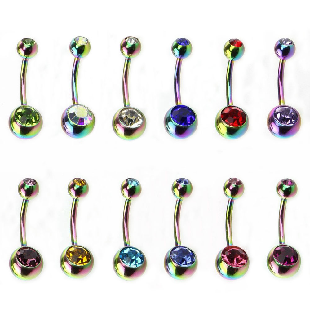 6pcs/lot Rainbow Surgical Steel Belly Button Ring Fashion Sexy Woman CZ Zircon Barbell Belly Stud Navel Piercing Body Jewelry