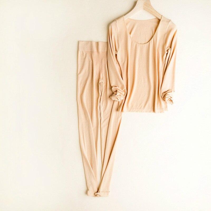 Women's Thermal Underwear Set Velvet Warm Suit Winter Woman Clothes Long Johns O-neck Top Elastic Underpants