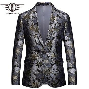 Plyesxale Floral Blazer Men 2018 Brand Clothing Mens Blazer Slim Fit Suit Jacket 5XL 6XL Men's Prom Party Blazers Man Coat Q393