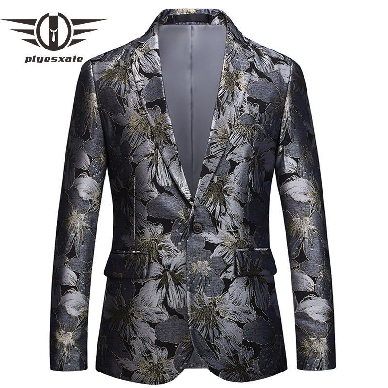 Plyesxale Floral Blazer Men 2018 Brand Clothing Mens Blazer Slim Fit Suit Jacket 5XL 6XL Men's Prom Party Blazers Man Coat Q393