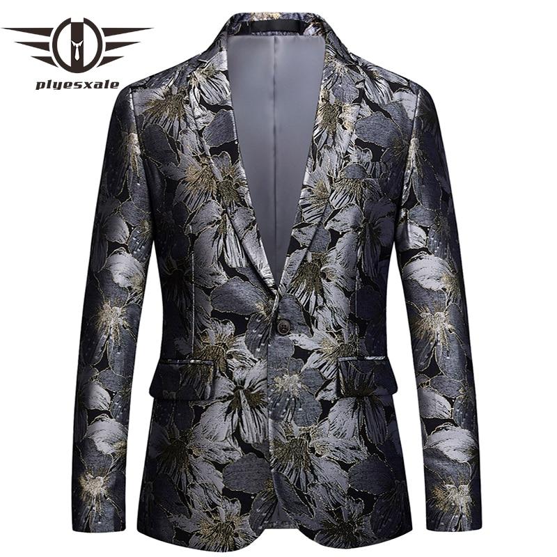 Plyesxale Floral Blazer hombres 2018 ropa de marca hombres Blazer Slim Fit traje chaqueta 5XL 6XL hombres partido Prom Blazers hombre Q393