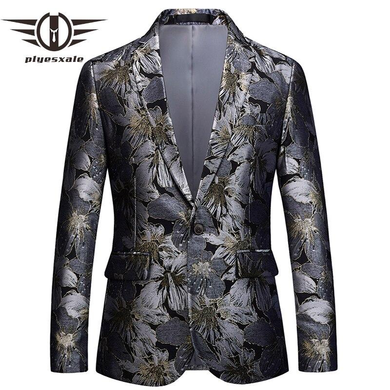 Plyesxale Floral Blazer hommes 2018 marque vêtements hommes Blazer Slim Fit costume veste 5XL 6XL hommes de bal fête Blazers homme manteau Q393