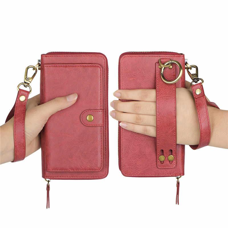 Multifungsi Zipper Mewah Pu Kulit Dompet Case untuk iPhone X X 6 6 S 7 8 PLUS Berdiri Kembali Kasus untuk Iphone 6 6 S Tas Capinha