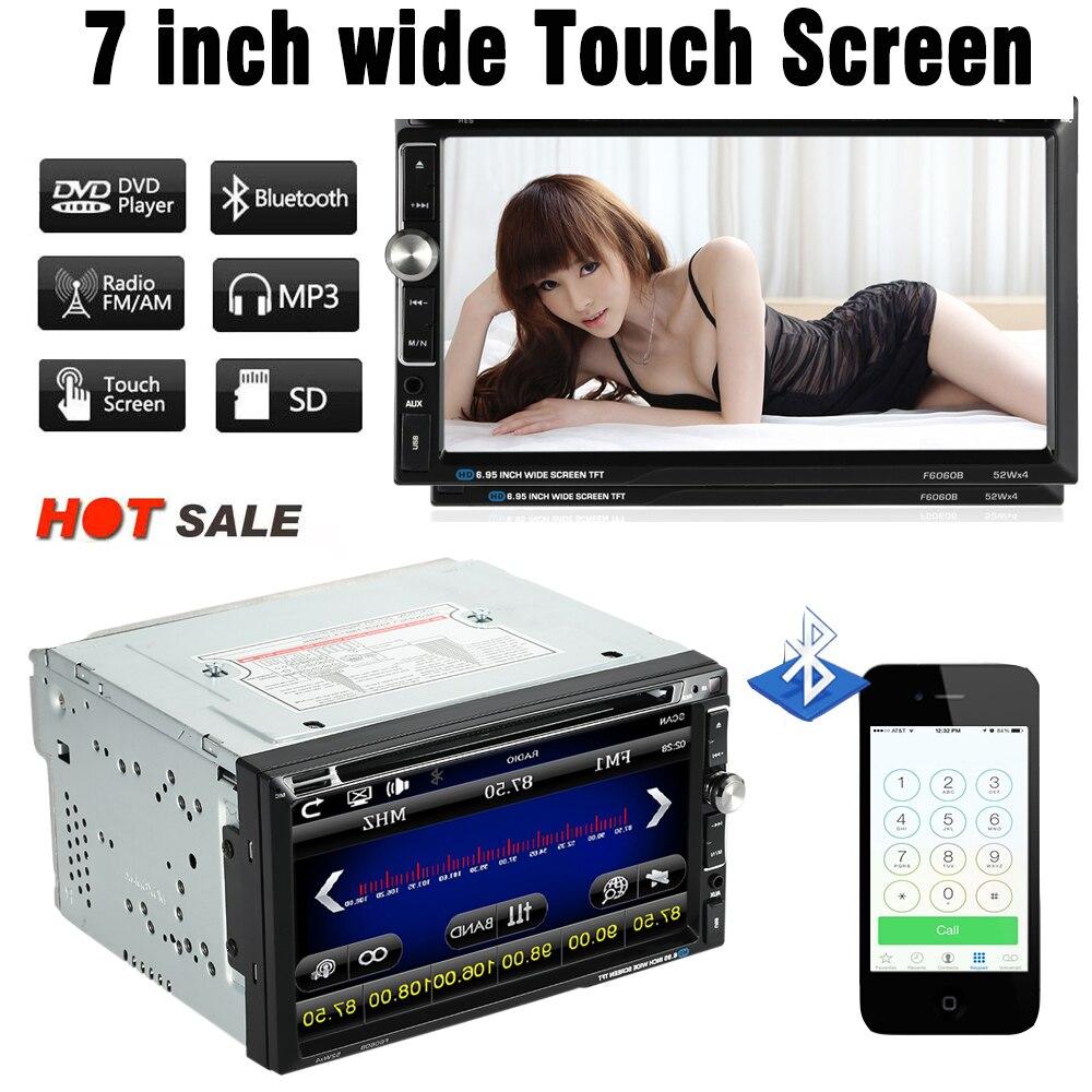 7 Universal 2 Din HD Car Stereo DVD Player BT USB TF FM Aux Input Radio