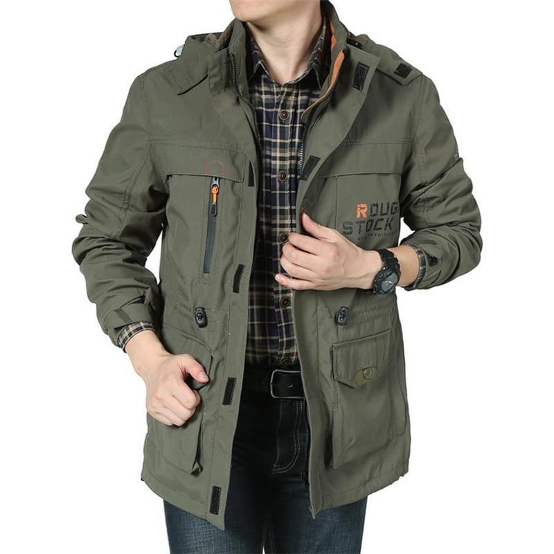 ceeba179de5fc 2018 Brand Clothing Bomber Jacket Men Army Jacket Army Green Multi-pocket  Waterproof Jacket Windbreaker Men Coat