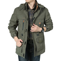 2018 Brand Clothing Bomber Jacket Men Army Jacket Army Green Multi Pocket Waterproof Jacket Windbreaker Men