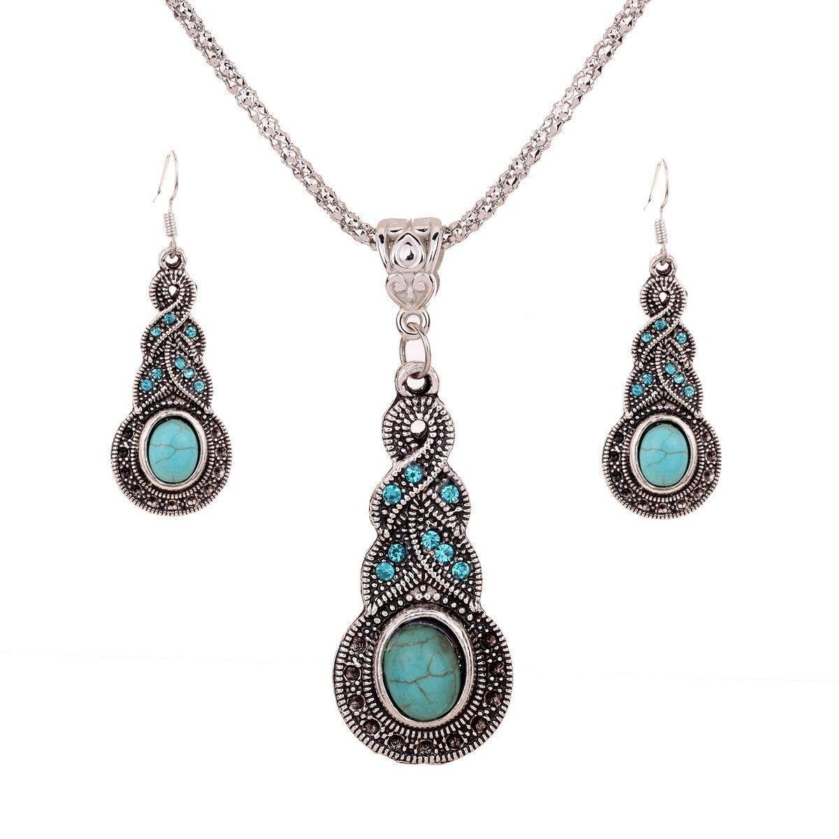 Fashion Jewelry Necklace Tears Retro Ethnic Necklace Set Wholesale Crystal Necklace Pendant Women's Elegant Necklace