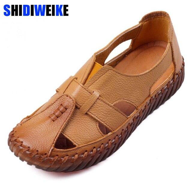 Sandalias de las mujeres 2018 del verano del cuero genuino señoras hechas a mano sandalias de cuero mujeres pisos estilo Retro madre m825