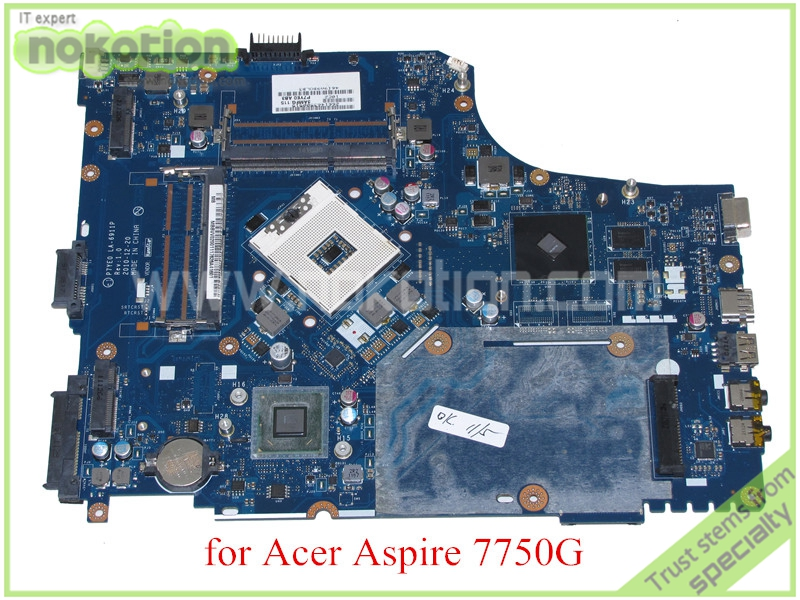 NOKOTION MB.BVV02.001 P7YE0 LA-6911P Rev 1.0 MBBVV02001 For acer aspire 7750 7750g motherboard HM65 DDR3 ATI graphics for acer aspire 5710g 5920g 6530g 6920g notebook pc ati mobility radeon hd 3650 hd3650 ddr3 256mb mxm ii graphics video