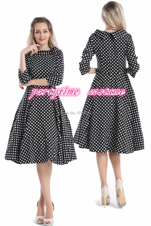 free shipping half sleeve 1950s pin up retro polka dot