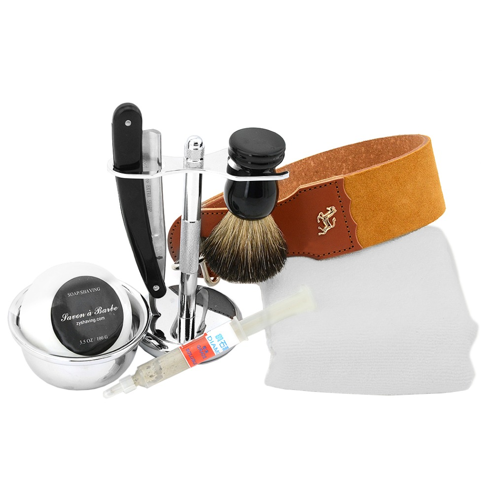ZY 8pcs/set Straight Razor Set Shaving Razor For Man Badger Shaving Brush Stand Leather Strop Barber Shave Soap Bowl mens badger shaving brush stand razor holder and double head safety straight razor