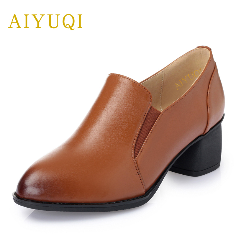 AIYUQI 2018 Spring New Genuine Leather Women Shoes Waterproof Personality Tide Deep mouth shoes lady loafers Brand shoes women aiyuqi 2018 spring new genuine leather women shoes shallow mouth casual shoes plus size 41 42 43 mother shoes female