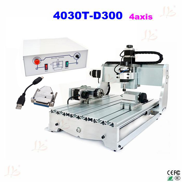 no tax to russia! CNC lathe 3040 T-D300 4axis CNC carving machine cnc engraving machine with External USB adapter no tax to russia miniature precision bench drill tapping tooth machine er11 cnc machinery
