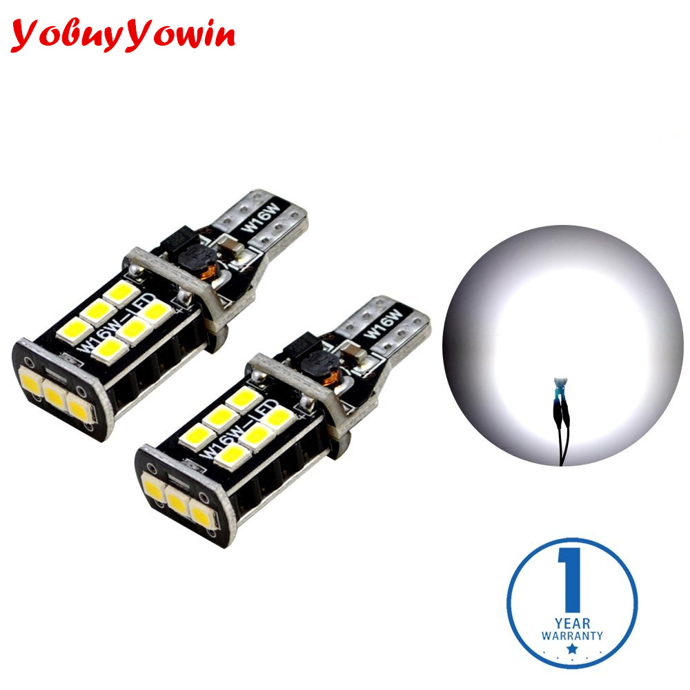 2835 Chipset 800 Lumens Canbus Error Free SMD LED Bulbs for Car Reverse Backup Brake Tail Lights 921 912 T15 6000K Xenon White 2 x error free super bright white led bulbs for backup reverse light 921 912 t15 w16w for peugeot 408