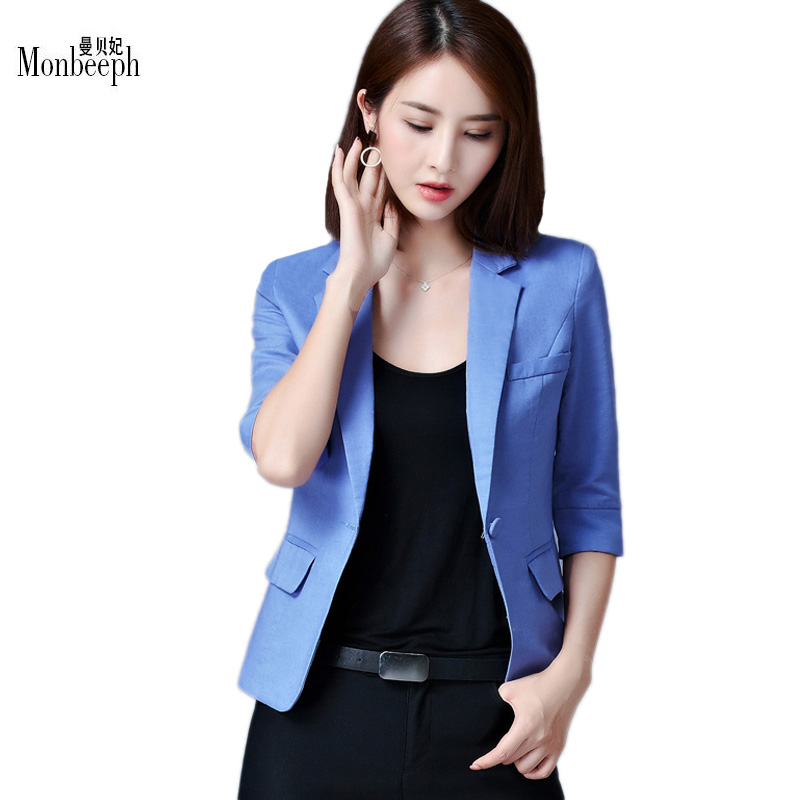Casaco Feminino 2017 Women Thin Blazer Candy Color One Button Three Quarter Sleeve Offic ...