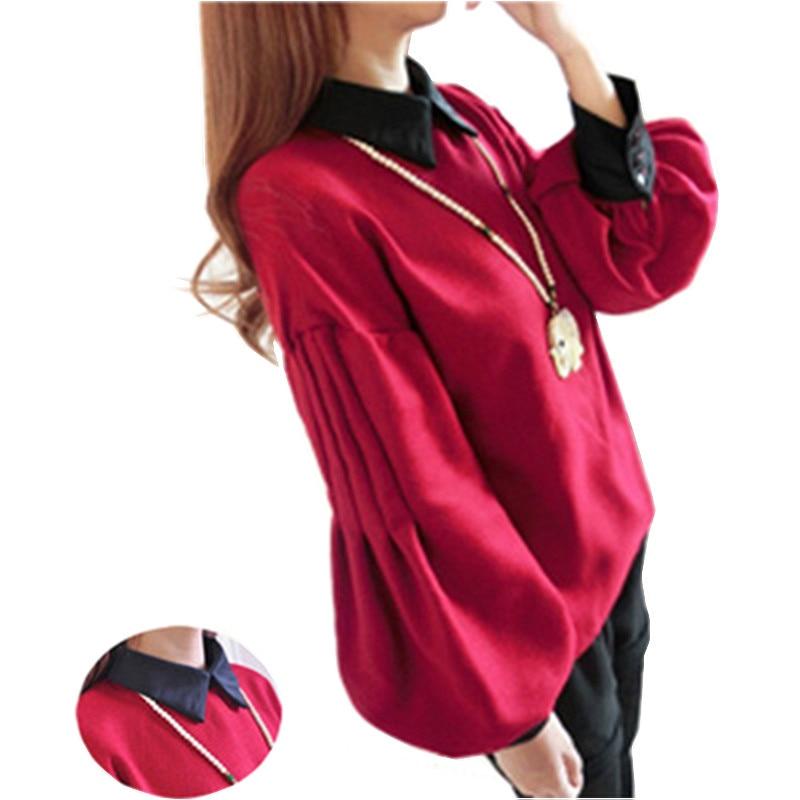 Lantern Sleeve Shirt Women 2018 Spring Autumn Vintage Thick Long Sleeve Blouse Cute Baby doll Peter pan Collar tops Ladies