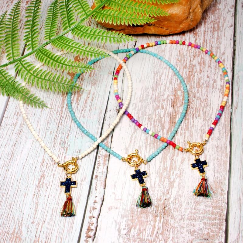MOON GIRL чокер с цветным крестом и кисточкой модный шикарный женский нагрудник для йоги ювелирные изделия для девушек дропшиппинг