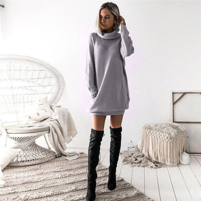 93bb4db296 Nuevo estilo moda mujer vestido tejido de punto cuello redondo puente  señoras invierno otoño Mini vestido