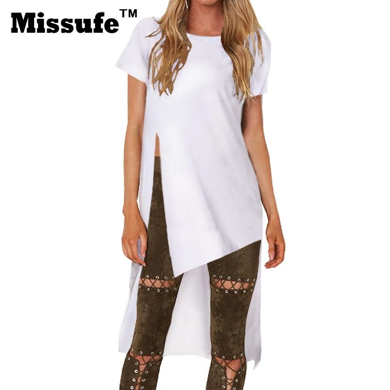 Missufe Women Long T Shirts High Split Female Blusas 2017 Tee Top Irregular White O Neck