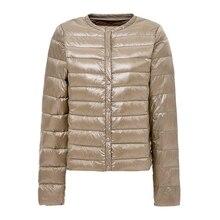 Manteau dhiver Ultra léger pour femme, vestes en duvet de canard blanc, manteau Portable col rond, veste dextérieur chaud pour femme, collection 2020