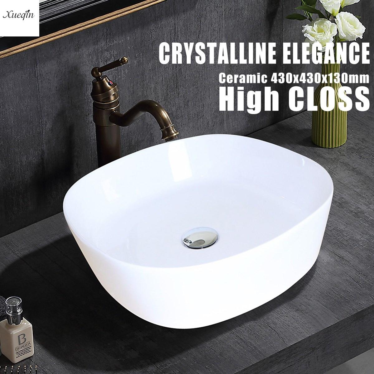 1Pcs Xueqin White Square Bathroom Porcelain Ceramic Vessel Sink ...