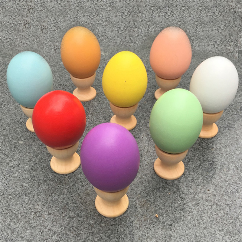 New Children 1:1 Simulation Wood Egg Montessori Wooden Easter Eggs DIY Hand Painted Doodle Easter Egg House Pretend Play Toys