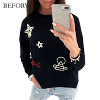 BEFORW Autumn Winter Casual Style Women Hoodies Long Sleeves High Quality Sweatshirt Embroidery Patterns Kawaii Hoodie