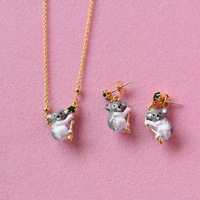Les Nereides Koala Gem Earring Sets Enamel Glazuur Sieraden Goede Gift Voor Gratis verzending