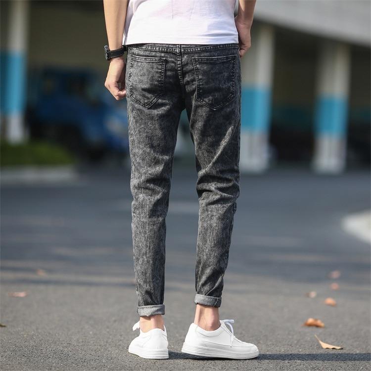 Mens Skinny Jeans Gray Denim Jeans New Fashion Men Pencil Pants Slim Jeans Men Spring Skinny Long Jeans