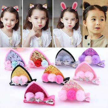 2pcs/Set Cute Baby Hairpins Girls Glitter Rainbow Felt Fabric Flowers Hair Clips Cat Ears Bunny Barrettes Kids Accessories - discount item  16% OFF Kids Accessories