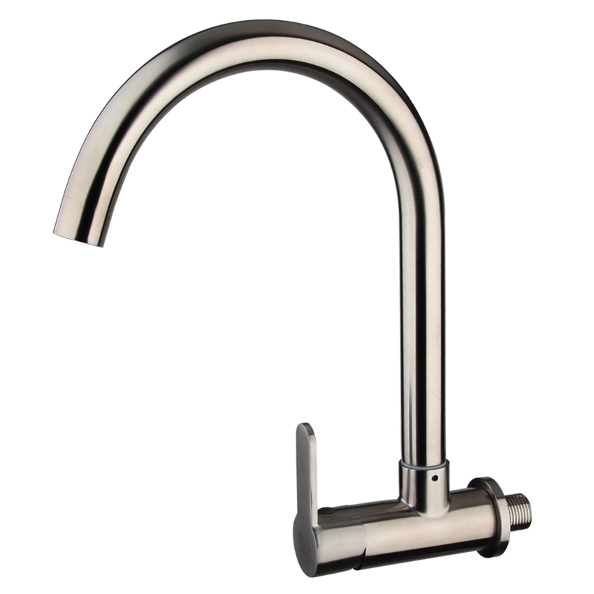 Permalink to kitchen faucets wall mounted kitchen faucet 304 stainless steel kitchen sink single holder single hole brushed  kitchen taps
