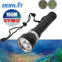 BORUIT Hand Lantern XML L2 LED Scuba Diving Flashlight Torch Underwater 100M Waterproof Tactical Submarine Lamp By 18650 Battery