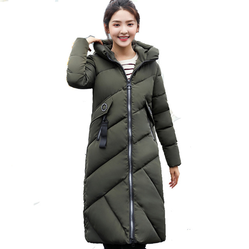 2017 winter New Hooded Parka Winter Down Cotton Coats Female Long Jacket Plus Size Slim Warm Outwear Woman Clothing QH0763
