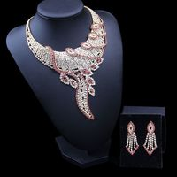 Dubai Big Plated Jewelry Set For Ladies Pink Plant Bridal Rhinestone Necklace Set Crystal Exaggerated Necklace Earring Set