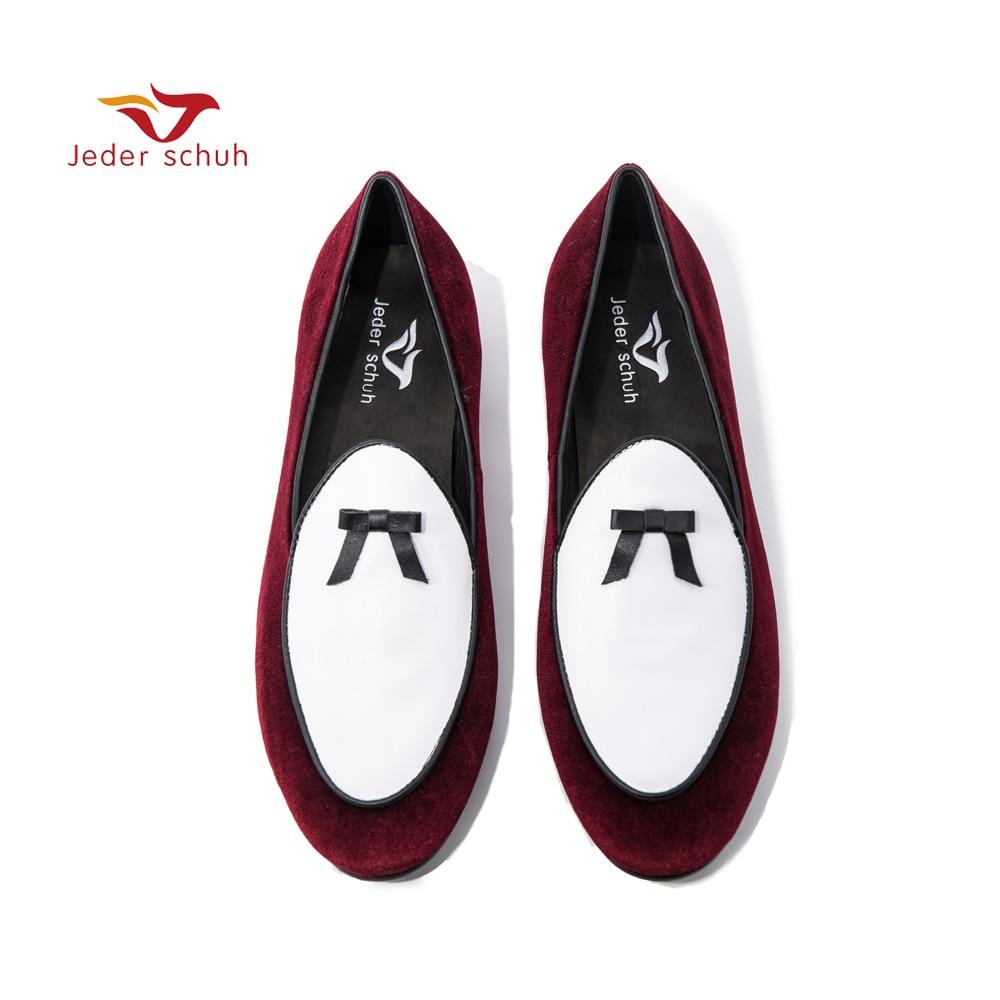 Los Fiesta Schuh Planos Holgazanes Hombres A De Y Mano Boda Zapatos Hechos Red Moda Shoes Ocasionales Terciopelo Jeder 6q8Sw18
