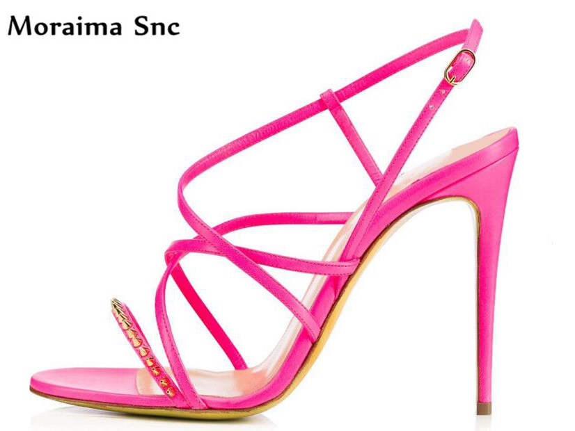 Moraima Snc Newest sexy women Rome type sandals peep toe Rivet studded PU leather narrow band strap buckle thin high heel moraima snc newest sexy women black string bead concise type sandals open toe thin high heel ankle strap hook solid party shoes