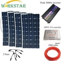 4*100 W Sunpower гибкие солнечные панели с 30A контроллера и 3000 W инвертор 400 W комплект солнечных батарей для начинающих для колесах/лодка
