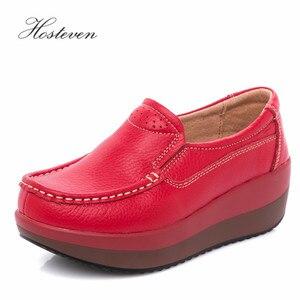 Image 1 - Hosteven נשים נעלי בלט נעל פרה זמש עור שטוח פלטפורמת אישה נעלי נשי נשים של נעלי מוקסינים נעל