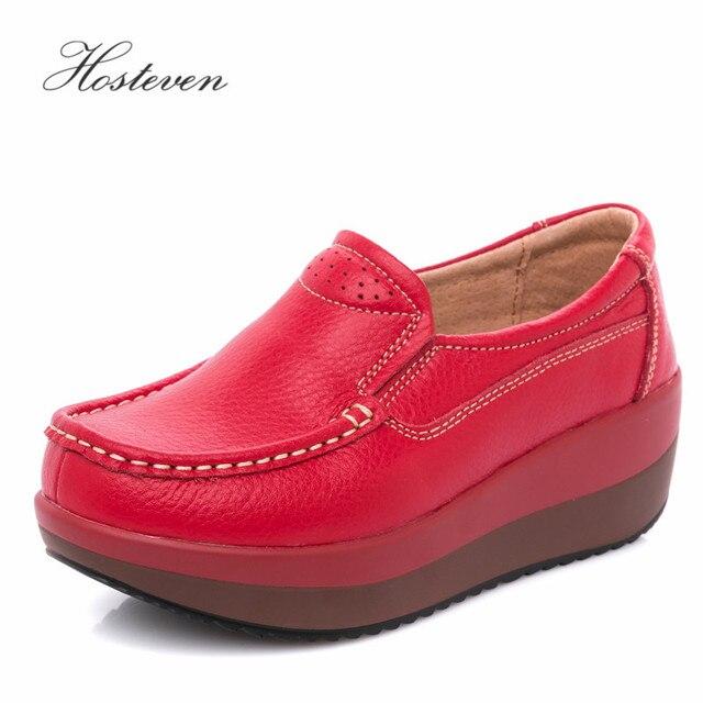 Hosteven נשים נעלי בלט נעל פרה זמש עור שטוח פלטפורמת אישה נעלי נשי נשים של נעלי מוקסינים נעל