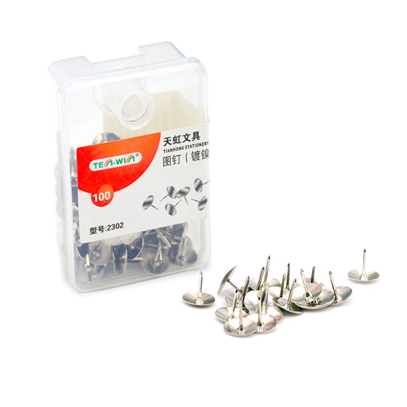 100 Pcs/lot Silver Thumbtacks Drawing Pushpins Metal Map Tacks Cork Boards Pins Kawaii Stationery Pins Office School Supplies