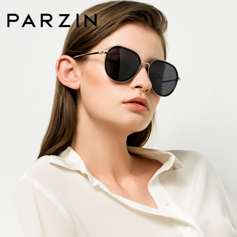 PARZIN Hot Ladies Champagne Pilot Sunglasses Retro Pilot Polarized Glasses For Driving Alloy Frame Eyewear Women
