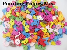 Randomly 100pcs Mixed wooden Buttons Assorted Patterns Decorative Buttons for Crafts Scrapbooking Sewing accessories