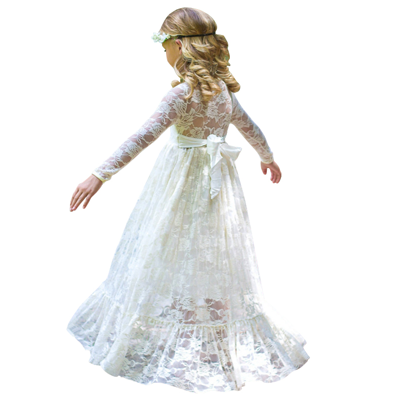 2 - 12 yrs girl Lace Long Dress With Sweet Big Bow 2018 new Long Sleeve Flower Baby Kids Princess Wedding Prom Party White/Beige new high quality fashion excellent girl party dress with big lace bow color purple princess dresses for wedding and birthday