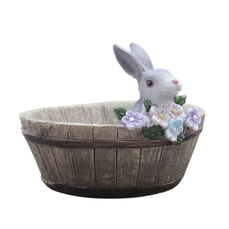 Пейзаж милый зайчик Дизайн природные смолы Плантатор цветочный горшок домашний сад декоры деревянный Банни pots ...