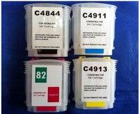 리필 가능 잉크 카트리지 1SET 82 for HP DESIGNJET 500 800 프린터 C4911A-C4913A C4844A