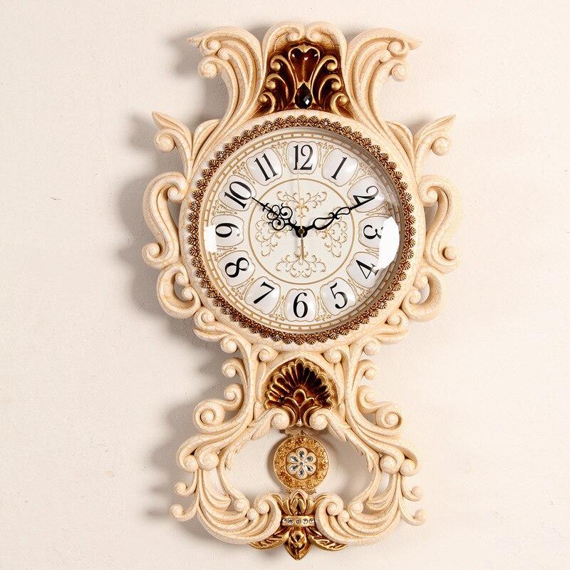 TUDA 38x66 см Европейский стиль смола настенные часы большие настенные часы восстановление древних тихих настенные часы