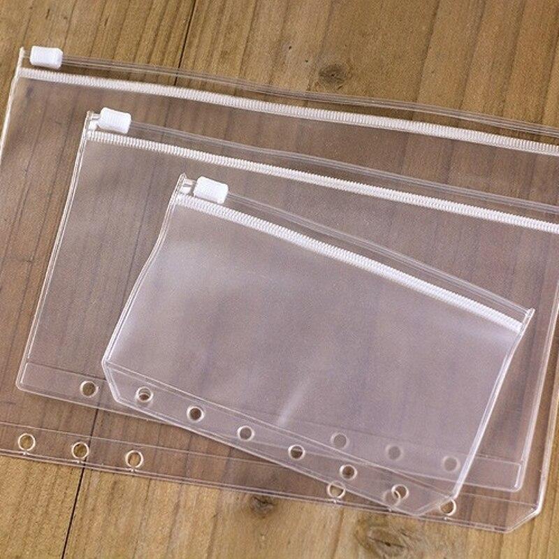 5pcs/lot A5 A6 A7 File Holder Transparent PVC Loose Leaf Pouch Self-Styled Zipper Filing Organizer Bags